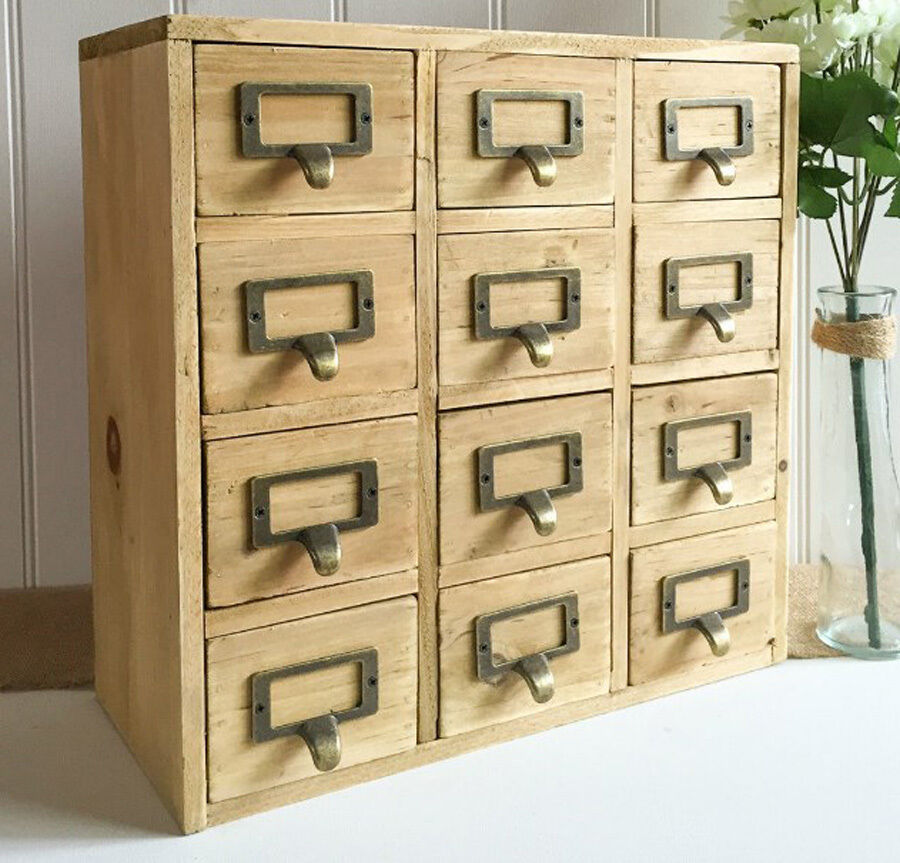 Vintage Storage Unit Small Chest Drawers Wood Rustic Cabinet Trinket
