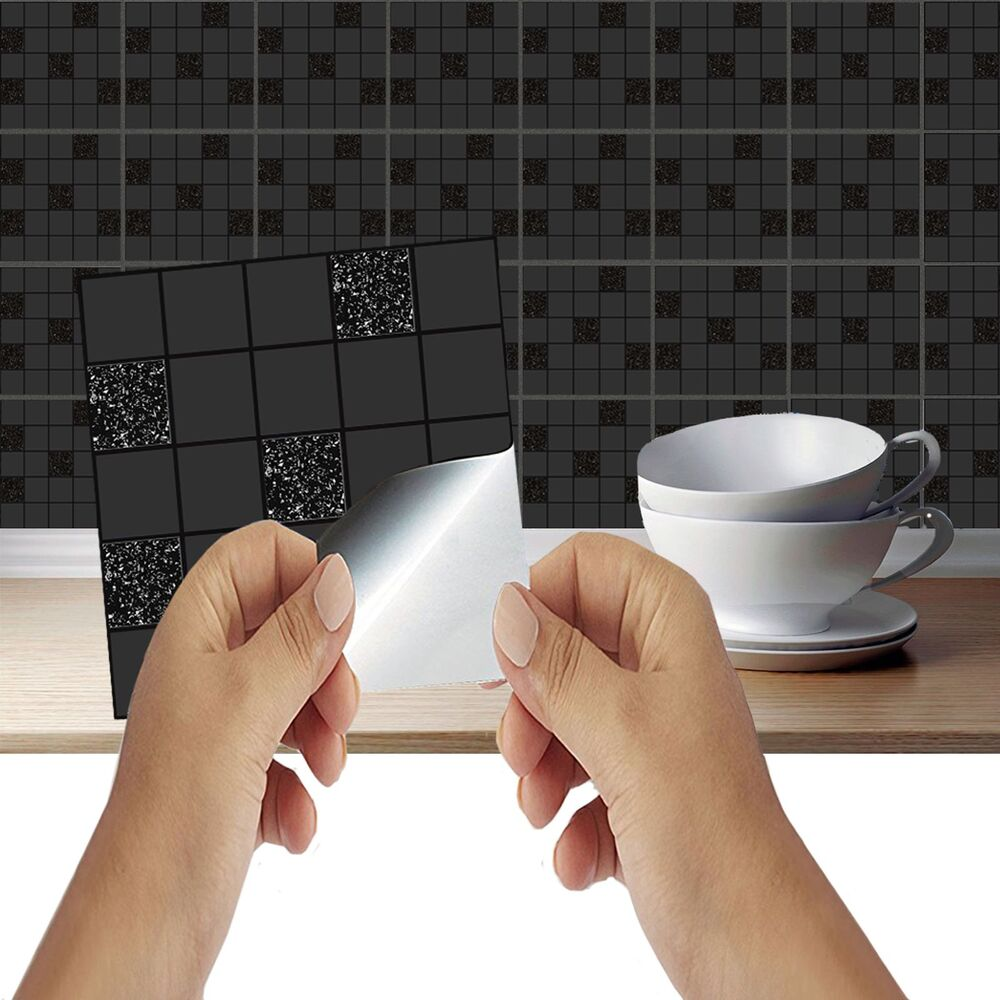 bathroom tile covers black mosaic tile stickers transfers kitchen bathroom 11593