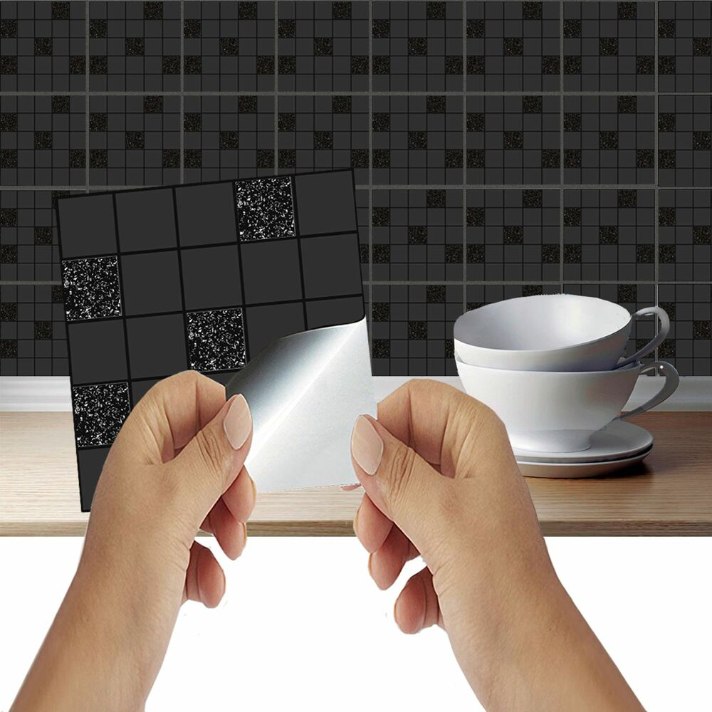 black mosaic tile stickers transfers kitchen bathroom tiles marble