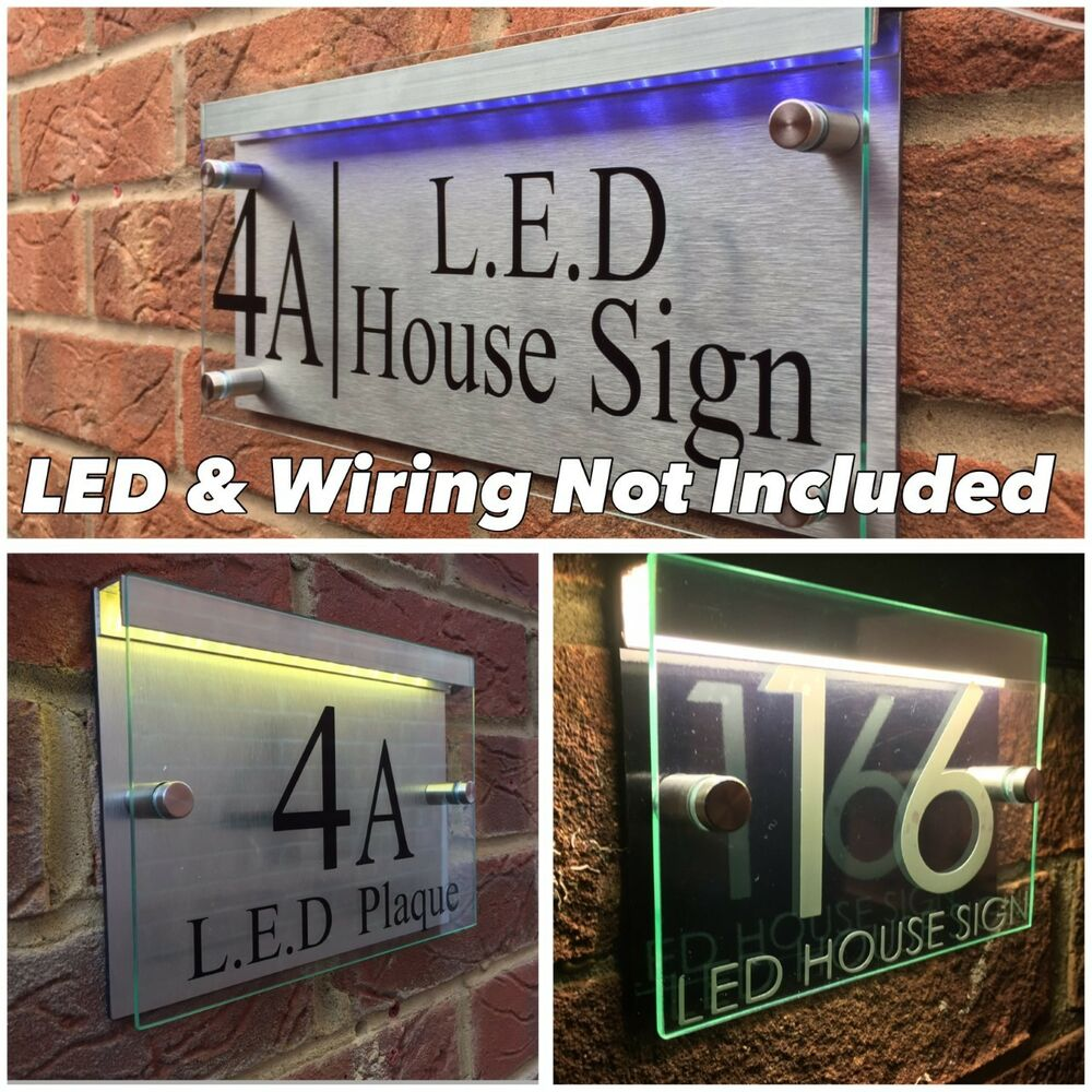 Details about modern house sign plaque door number street glass acrylic aluminium led holder