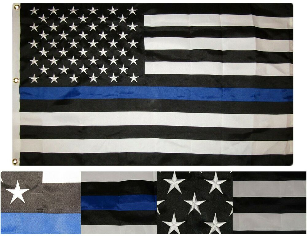 4x6 embroidered sewn usa police thin blue line synthetic cotton flag 4 39 x6 39 ebay. Black Bedroom Furniture Sets. Home Design Ideas