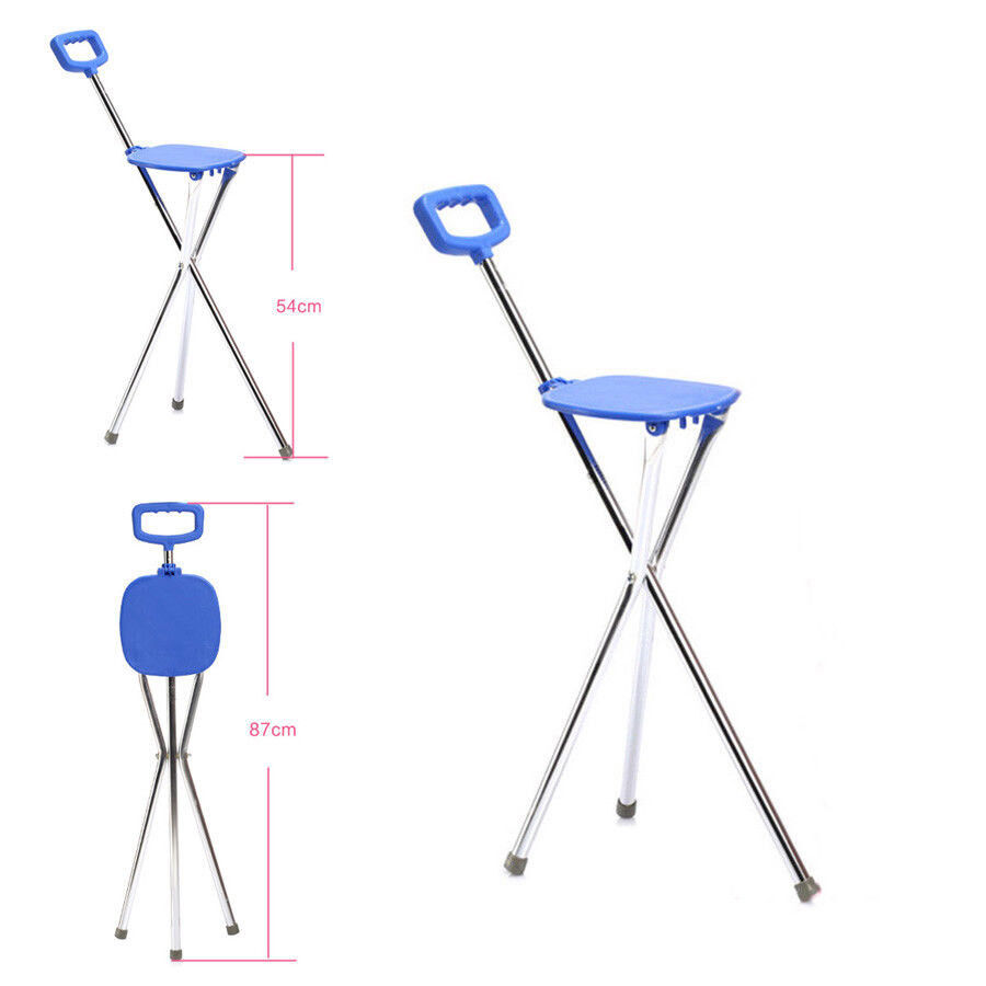 Folding Lightweight Aluminium Cane With Seat Mobility