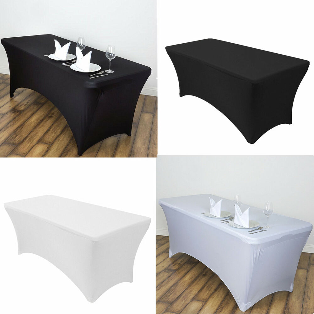stretch fitted spandex rectangular tablecloth 6ft 4ft folding table cover ebay. Black Bedroom Furniture Sets. Home Design Ideas