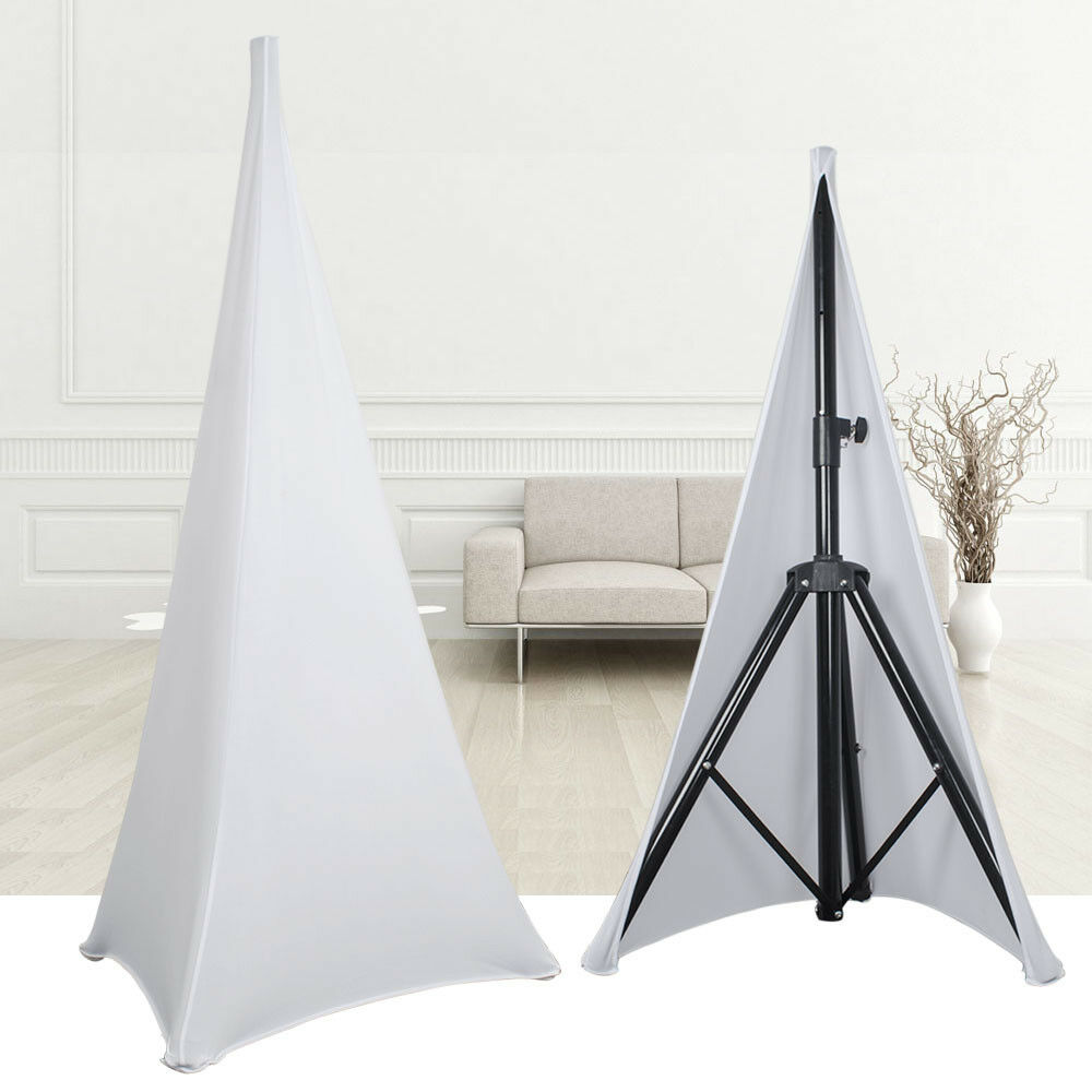 2x white lycra spandex dj tripod speaker stand scrim stretch cover double sided ebay. Black Bedroom Furniture Sets. Home Design Ideas