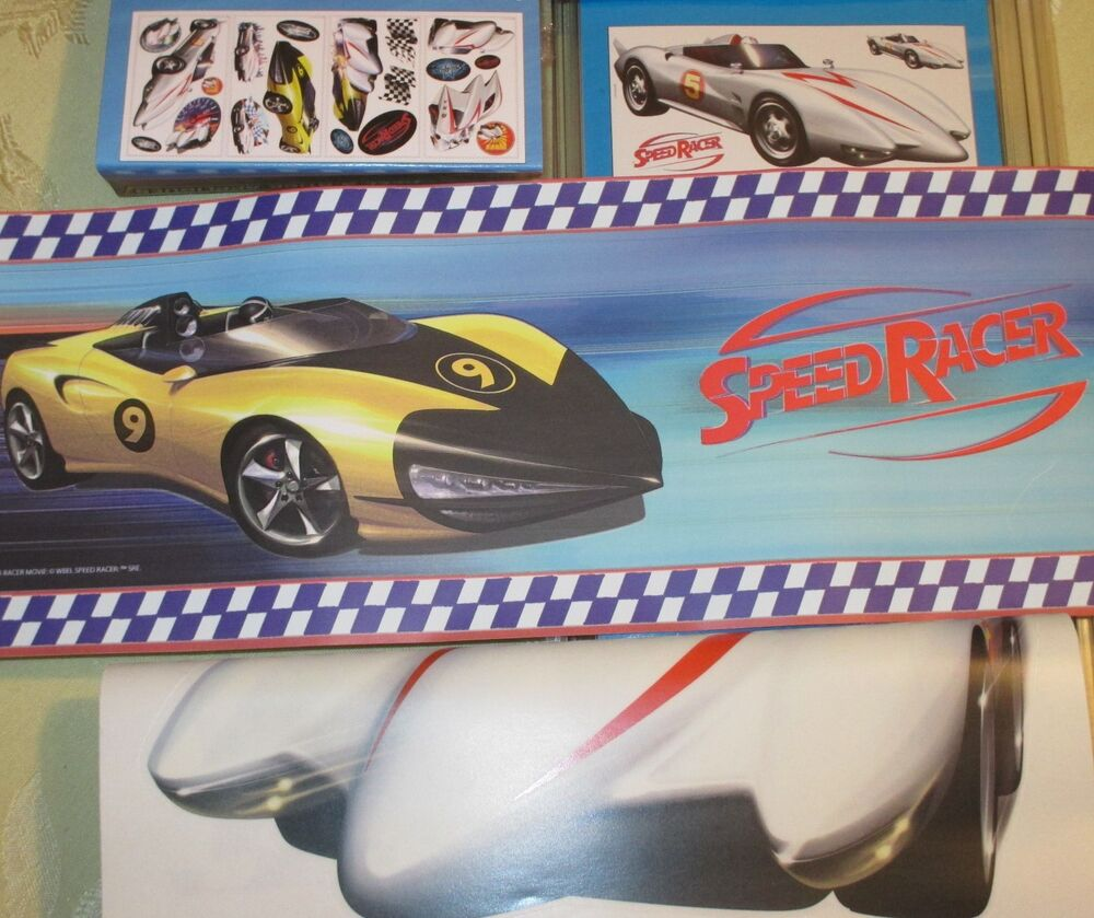 Speed racer peel stick wall border 19 appliques decal set giant fathead new ebay