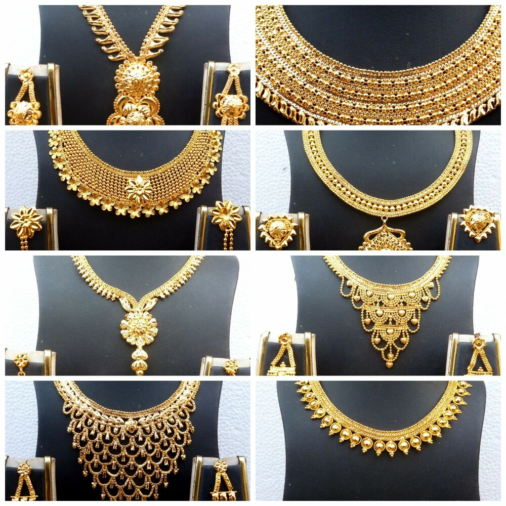 Indian Gold Necklace Set: Indian 22K Gold Plated Wedding Necklace Earrings Jewelry