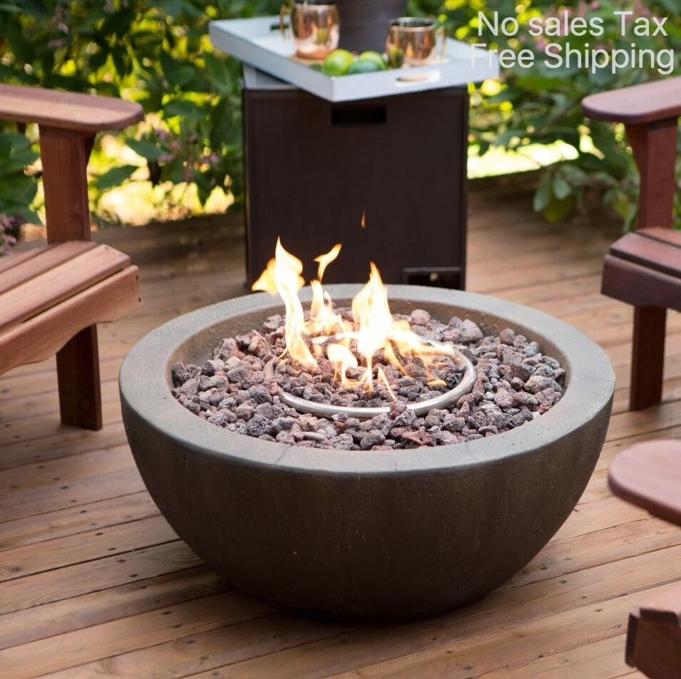 Gas Fire Pit for Porch Patio Round Firepit Bowl Heater LP Propane Outdoor  Yard - Natural Gas Fire Pit EBay
