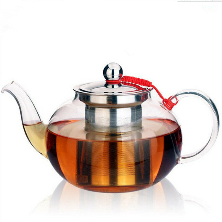 Clear Glass Tea Pot Infusion Teapot With Stainless Steel Infuser And Lid 0 4l 1l Ebay