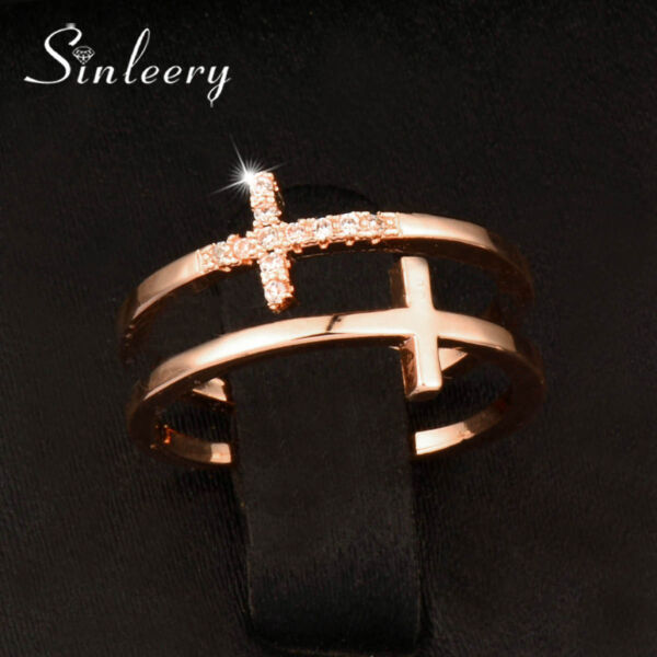 Fashion Hollow Crystal Cross Adjustable Rings For Women Rose White Gold Plated