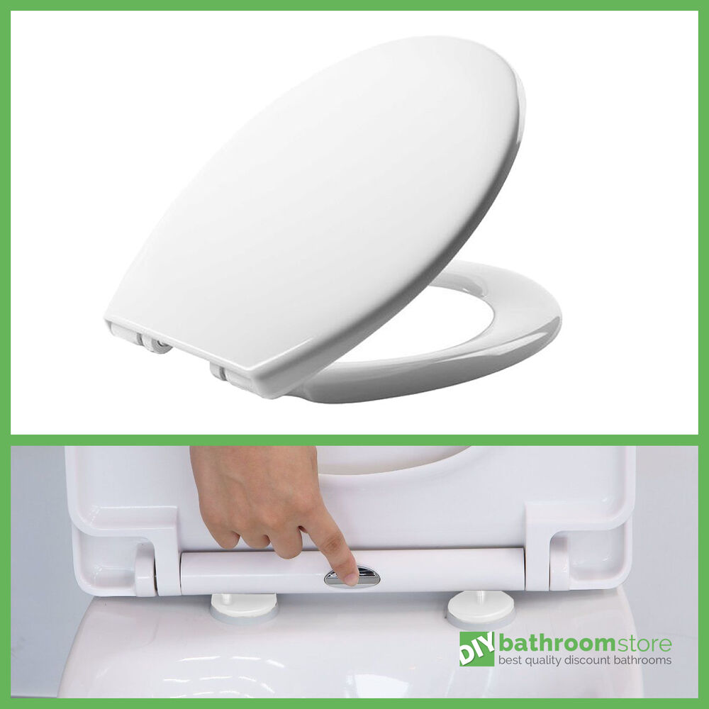 Luxury Quick Release Soft Close Heavy Duty White Toilet Seat Chrome Hinges To