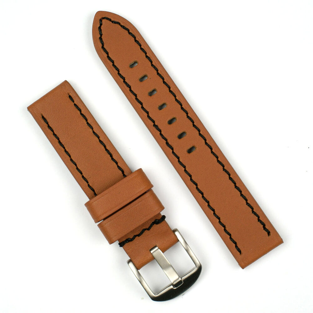 6a07e44ffb3 Details about 20MM Tan Leather Watch Band Strap With Black Stitching SALE!!   REDUCED PRICE