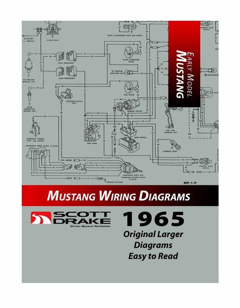 New  1965 Ford Mustang Wire Diagram Manual Larger Easy To Read Print Exploded