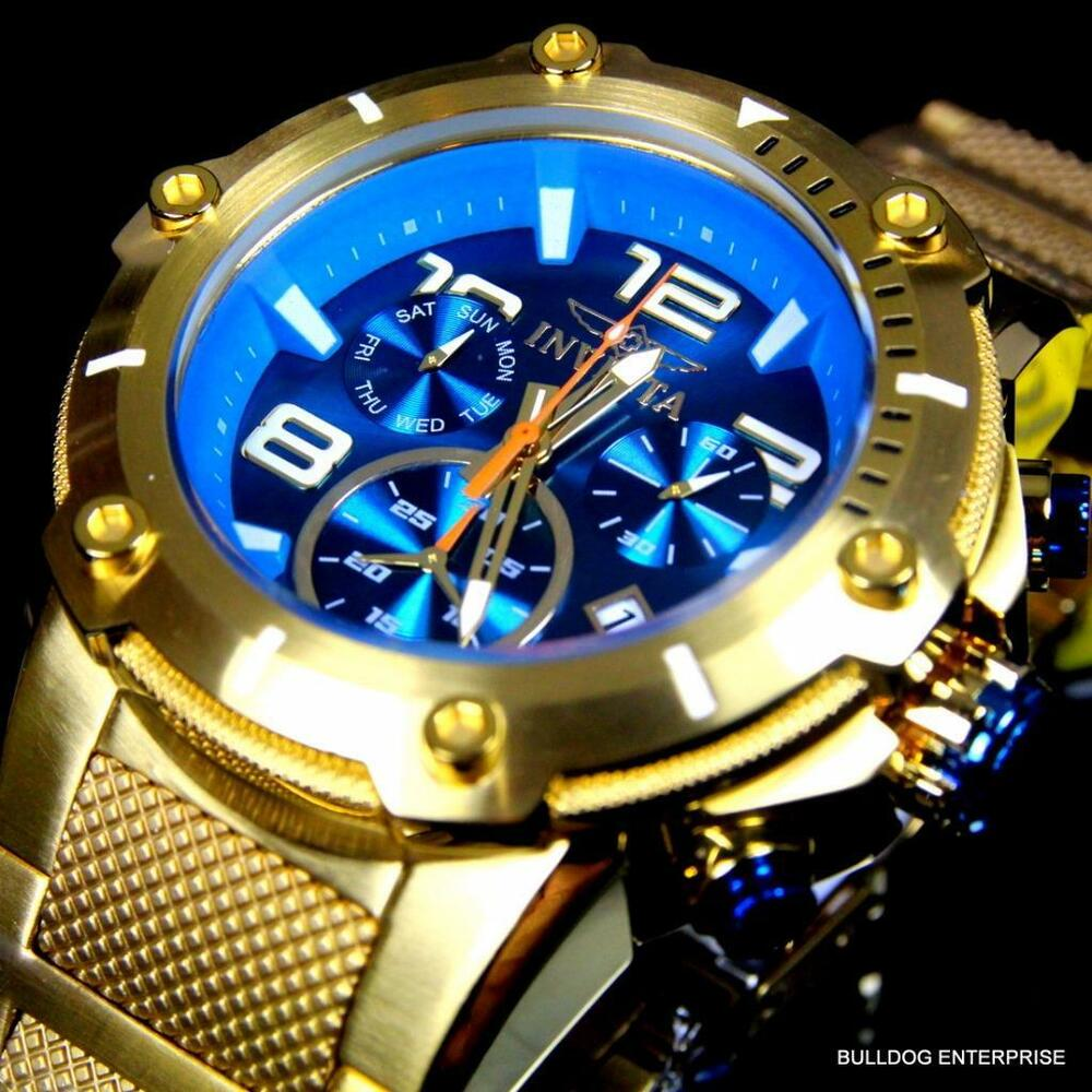 invicta speedway xl teal blue gold plated chronograph swiss parts watch new ebay. Black Bedroom Furniture Sets. Home Design Ideas
