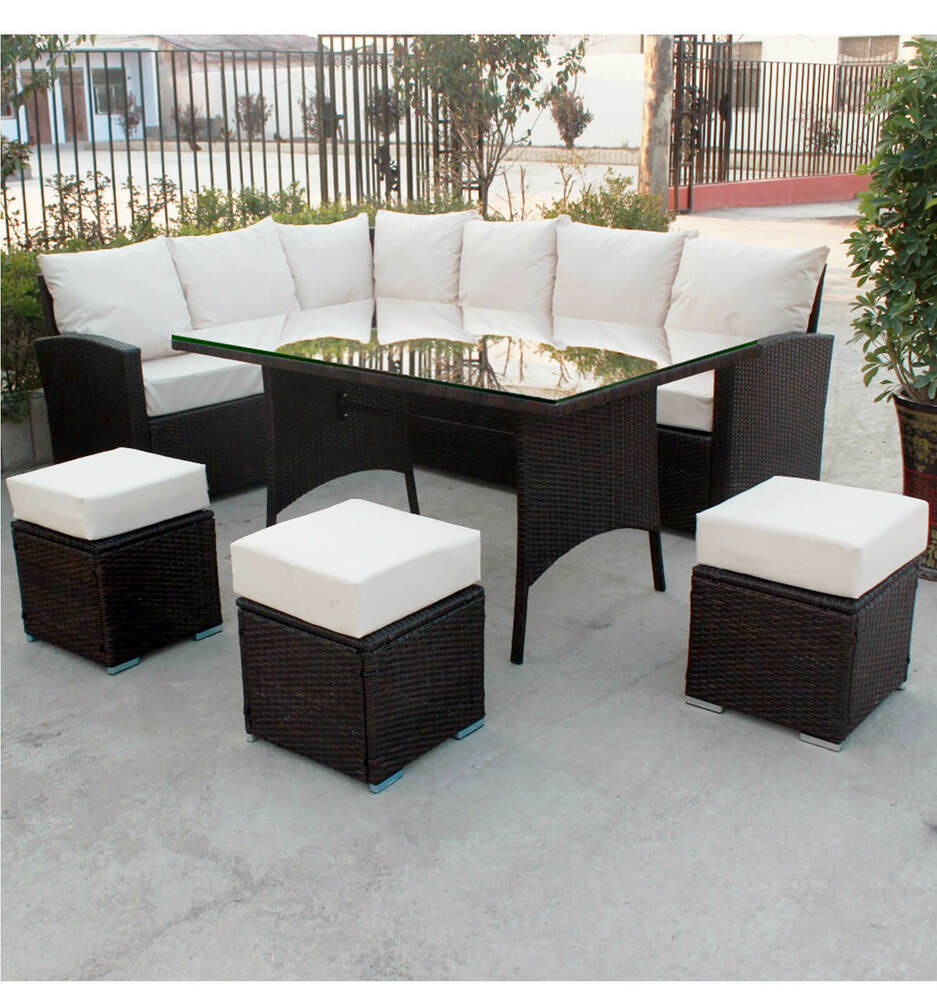 9 Seater Rattan Corner Sofa Amp Dining Set Garden Furniture