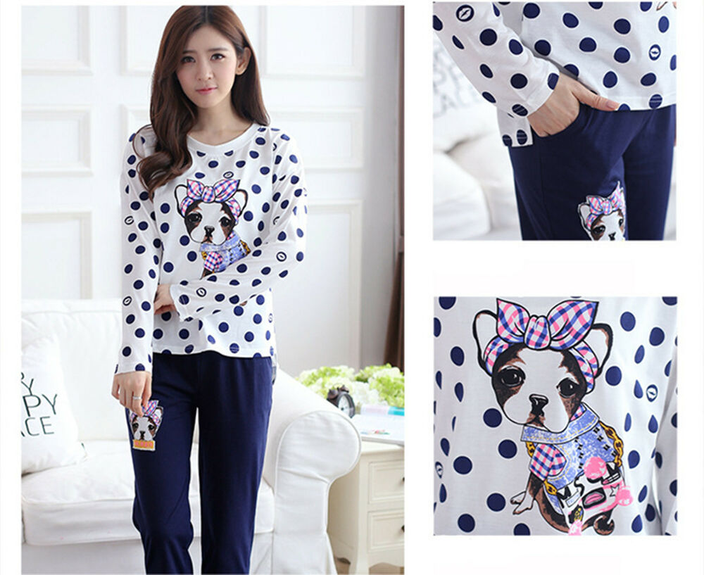 Ladies French Bulldog Cotton Button Top Amp Trousers Pyjamas