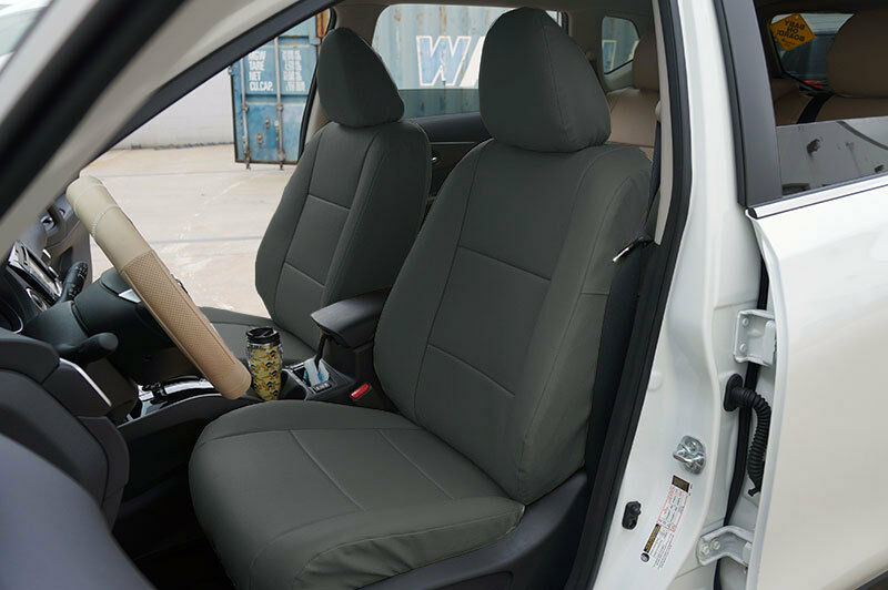 Charcoal Vinyl Custom Made Fit Front Seat Covers For