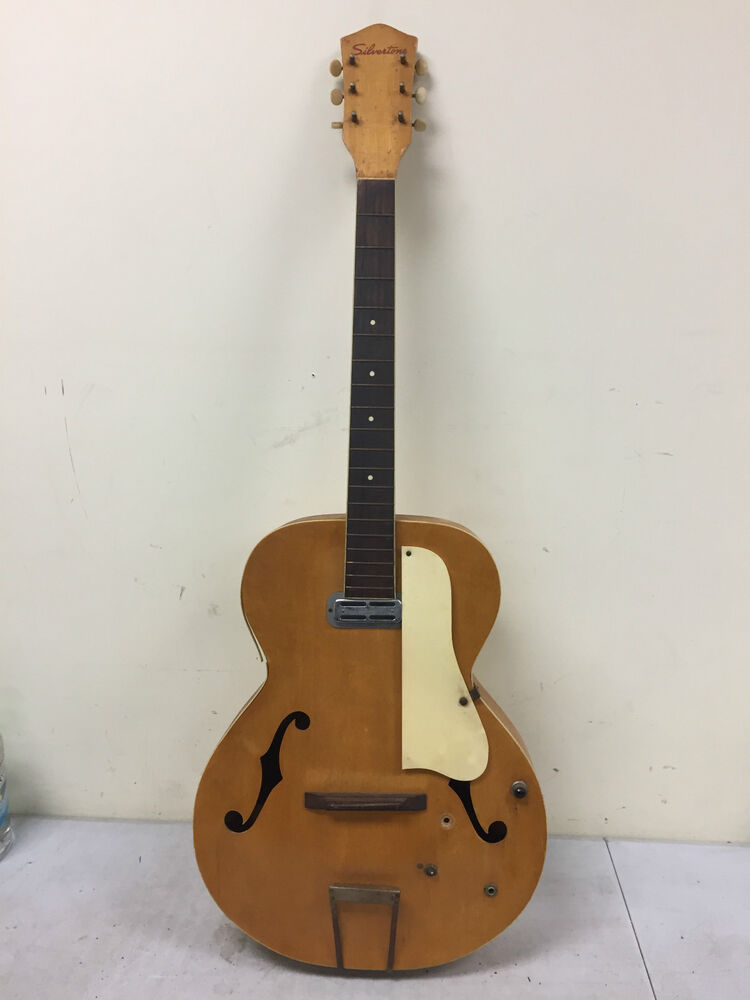 vintage silvertone acoustic archtop hollow body electric guitar dearmond ebay. Black Bedroom Furniture Sets. Home Design Ideas
