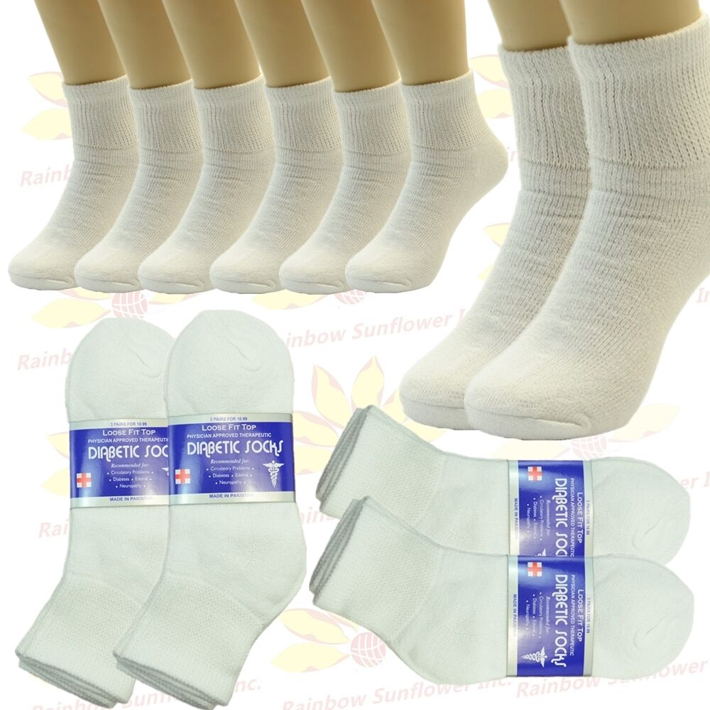 6 Pairs Diabetic Ankle Quarter Socks Health Mens Womens