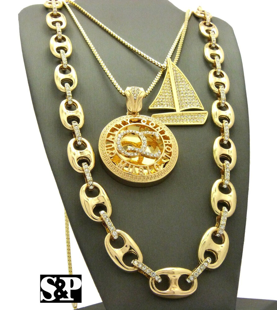 hip hop iced out sail boat qc pendant w box chain guci