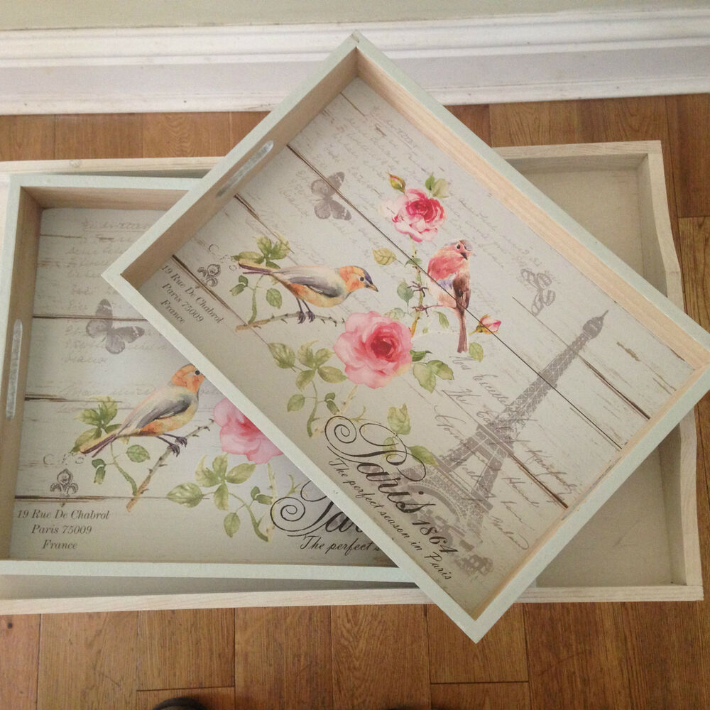 Shabby Chic Paris Wooden Flowers And Birds Tray In 2 Sizes