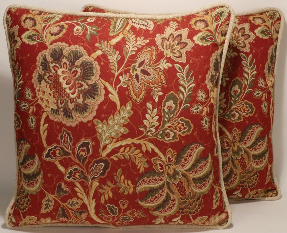 2 18 Quot Jacobean Red Tan And Green Floral Pattern Designer