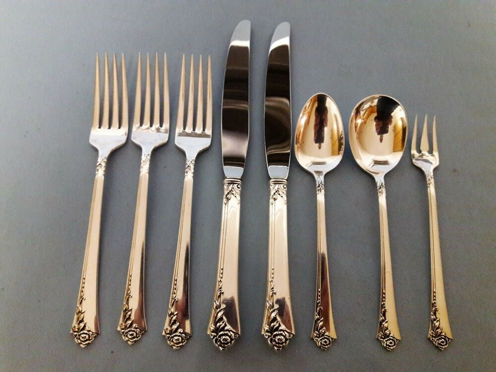 Lot Mixed Pcs Fork Knives Spoon Heirloom Damask Rose