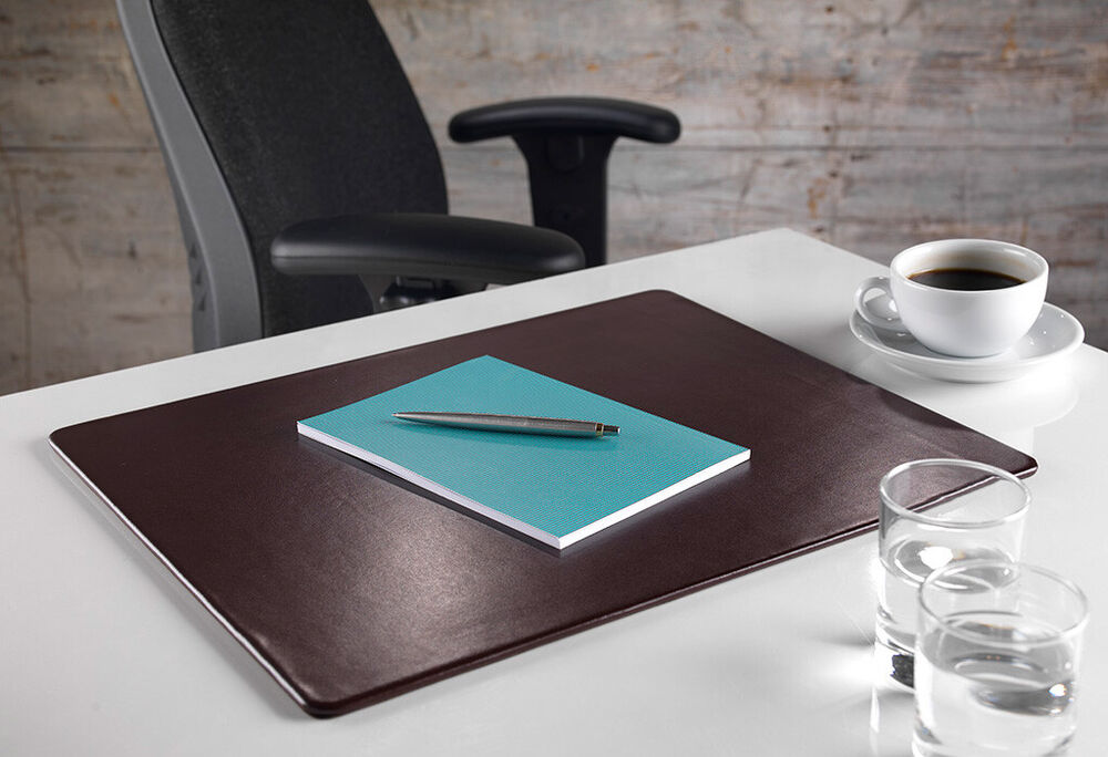 Brown Leather Writing Desk Organiser Pad Mat Home Office