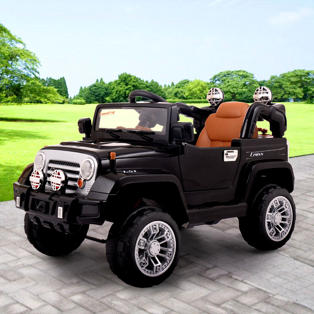 Jeep Style Kids Ride On Truck Jeep Car Rc Remote Control W Led Lights Mp3 Music Ebay