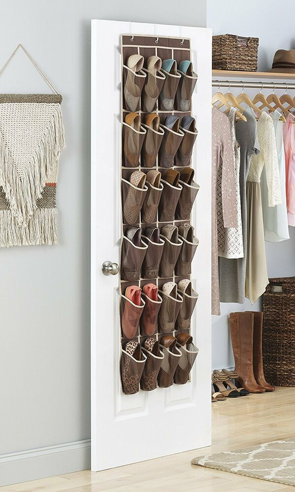 over the door shoe rack for closet hanging storage canvas organizer wall holder ebay. Black Bedroom Furniture Sets. Home Design Ideas