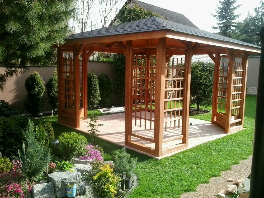 holzpavillon gartenlaube 300 x 300 cm 350 x 350 cm 1 neu ebay. Black Bedroom Furniture Sets. Home Design Ideas