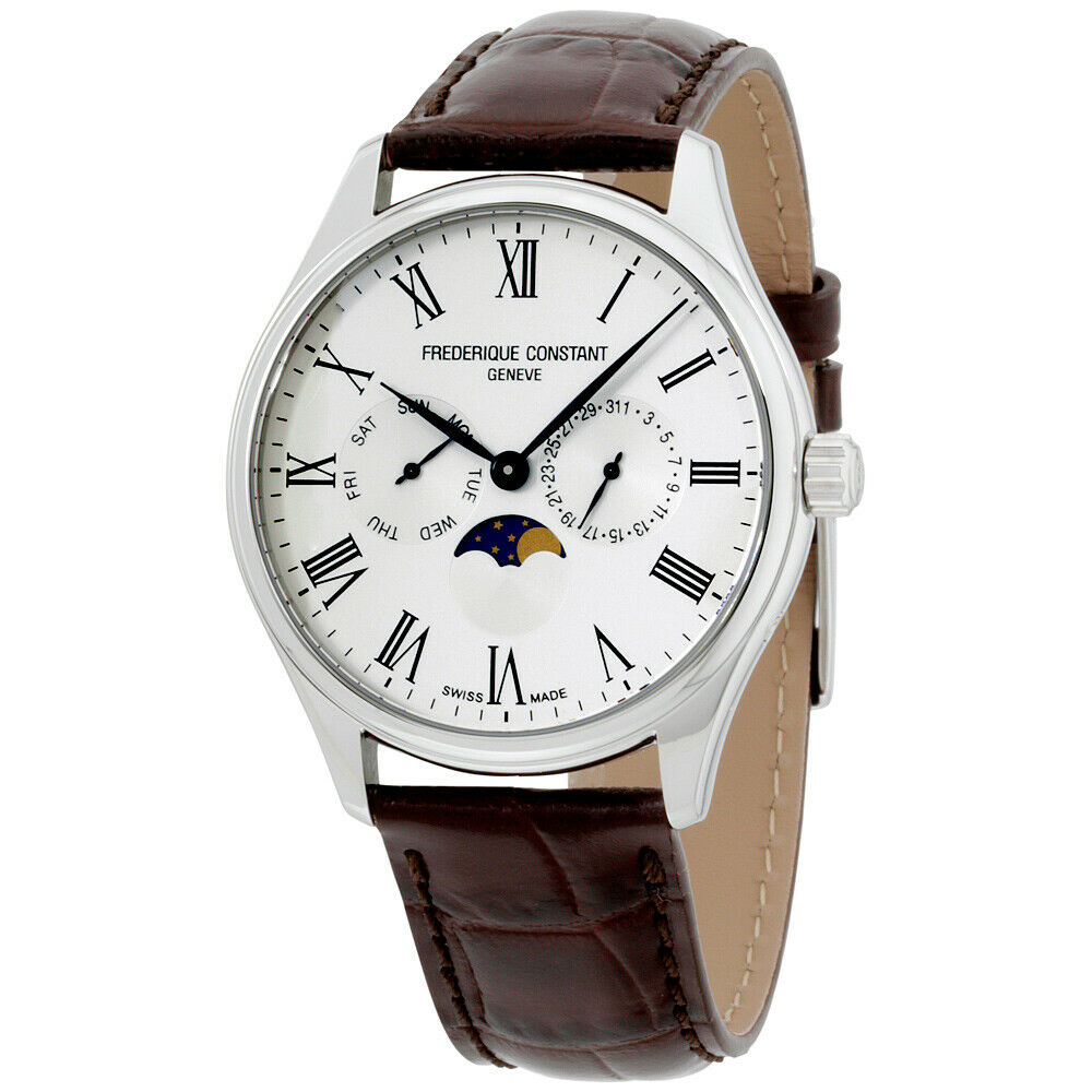 Frederique constant classics silver dial leather strap men 39 s watch fc260wr5b6dbr ebay for Leather strap watches