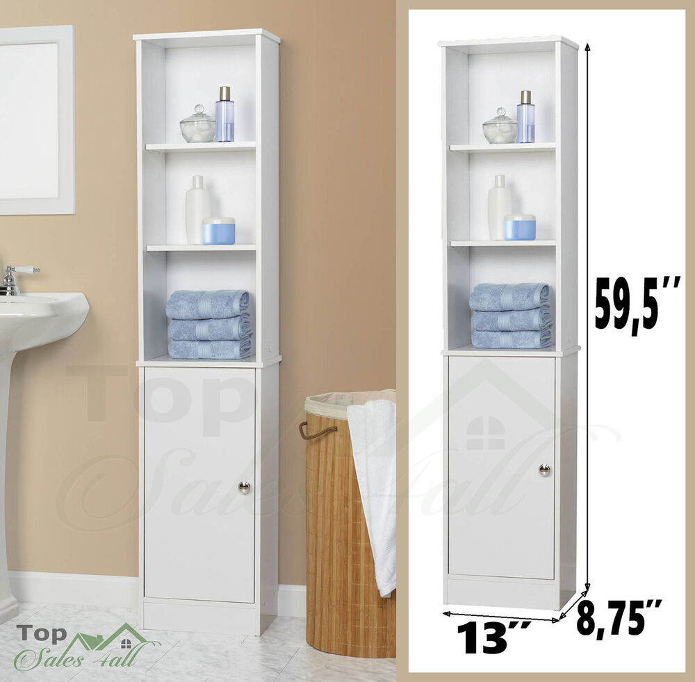 Bathroom Storage Cabinet Tall Linen Towel Organizer Wood Tower Shelves Cupboard