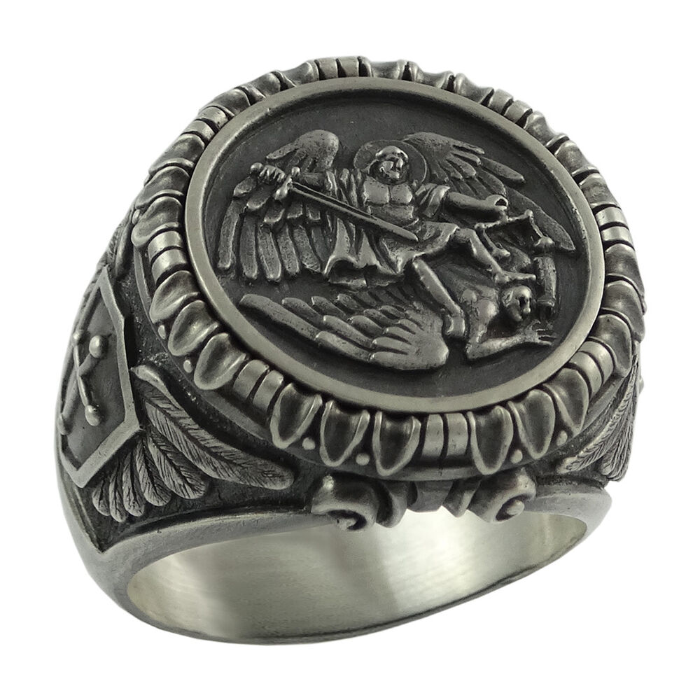 Saint St Michael Archangel Silver mens Ring Handcrafted US ...