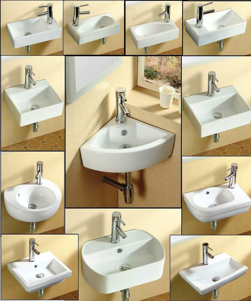 Bathroom cloakroom wall hung wall mounted ceramic basin for Wall mounted bathroom countertop