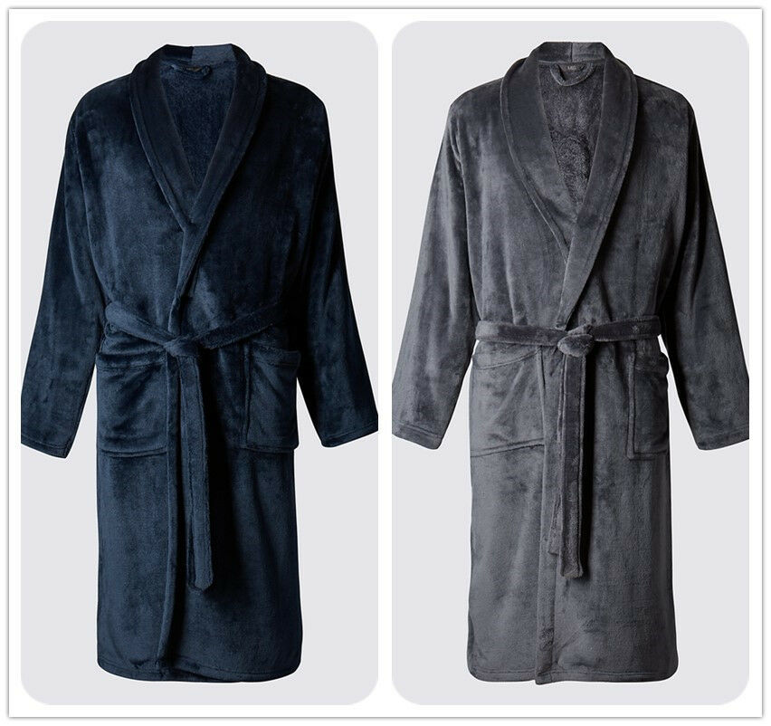 Men S Dressing Gowns: Luxury Mens NAVY Charcoal Thermal Coral Fleece Dressing