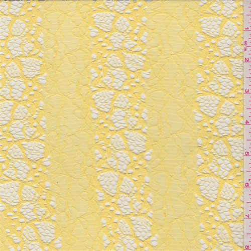 Bright Yellow Floral Stretch Lace, Fabric By The Yard ...