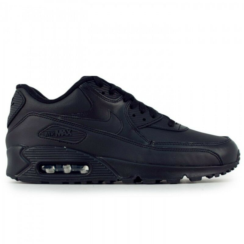 f442f8d8817f Details about New Men s Nike Air Max 90 Leather Running Shoes Black 95  302519-001 f1