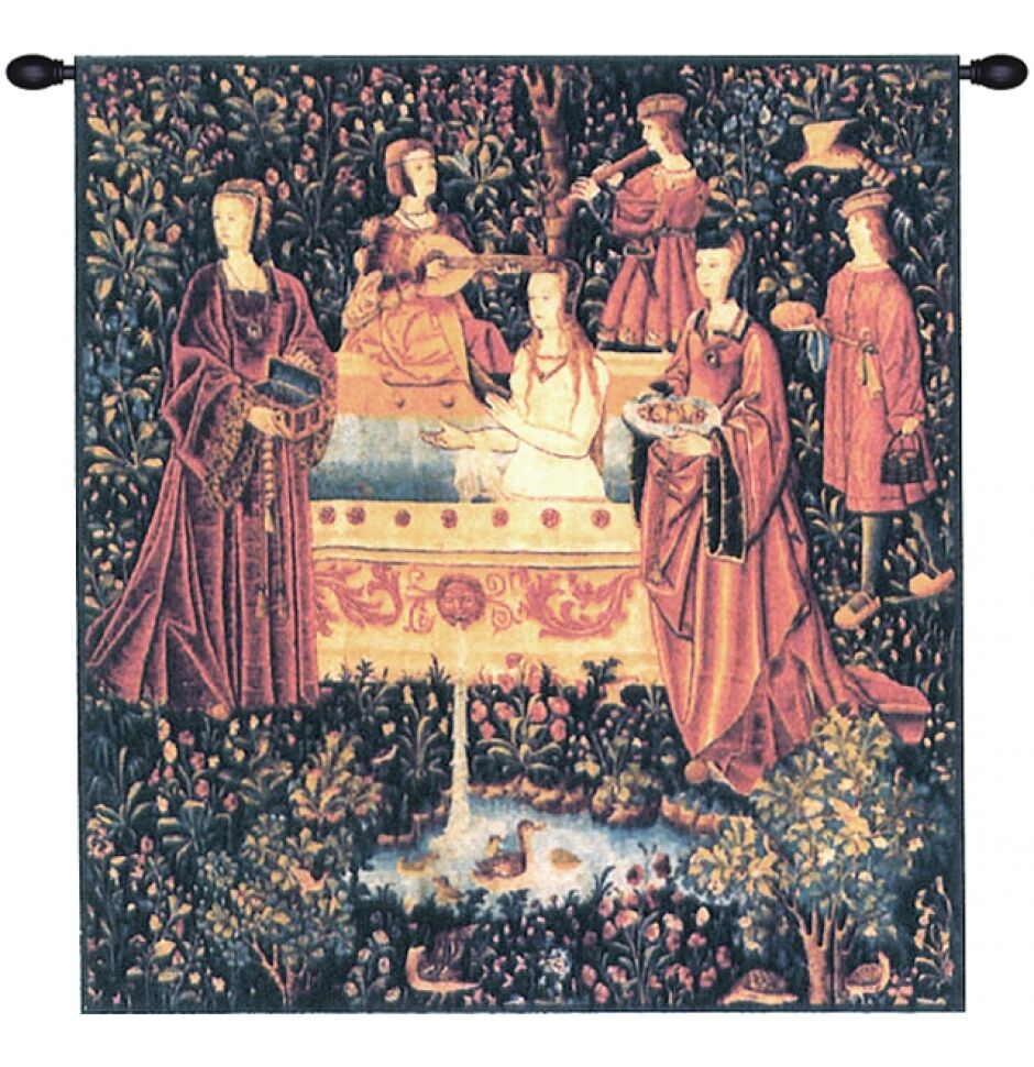 Medieval Tapestry Wall Hanging Noble Lady Taking Bath Ebay