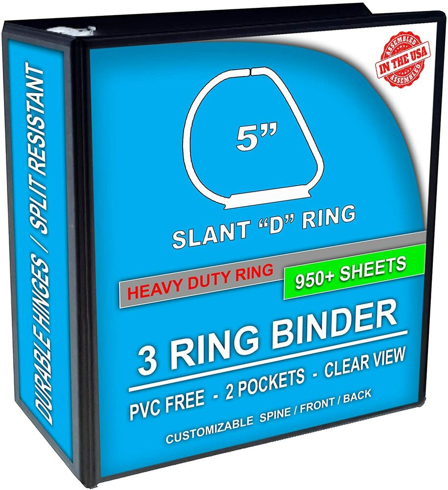 3 Ring Binder, Slant D-Rings, Clear View, Pockets (5 Inch