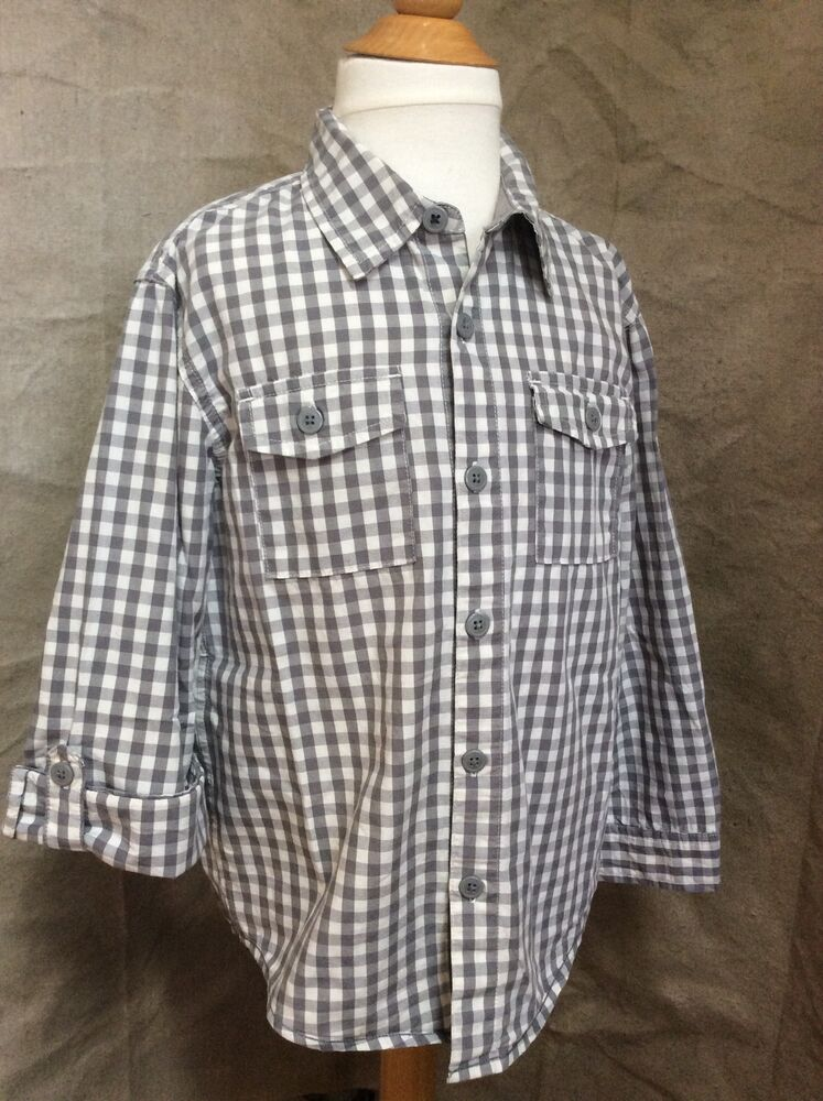Tea collection gray gingham check boys button down shirt for Grey button down shirt