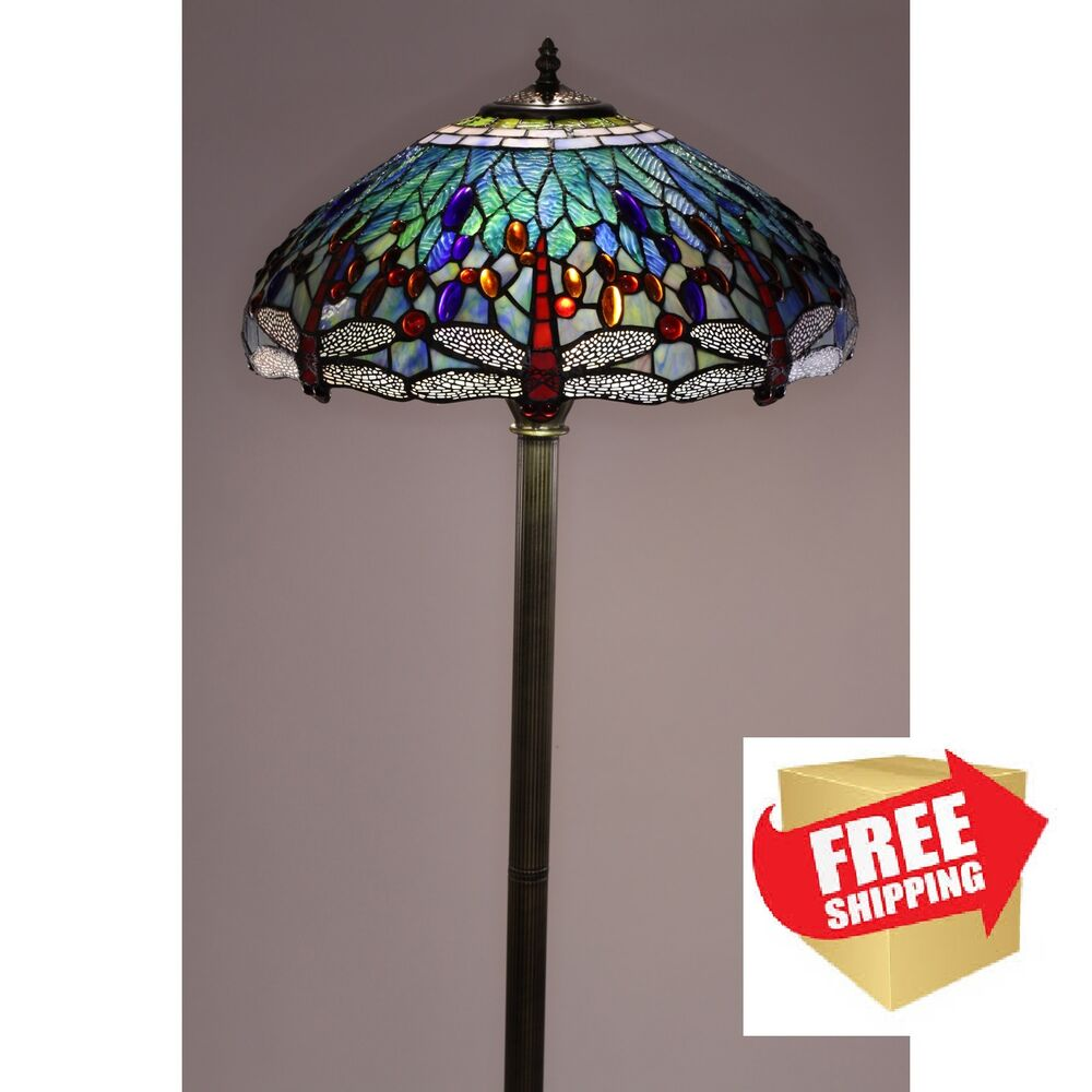 Dragonfly Floor Lamp Tiffany Style Handcrafted Antique