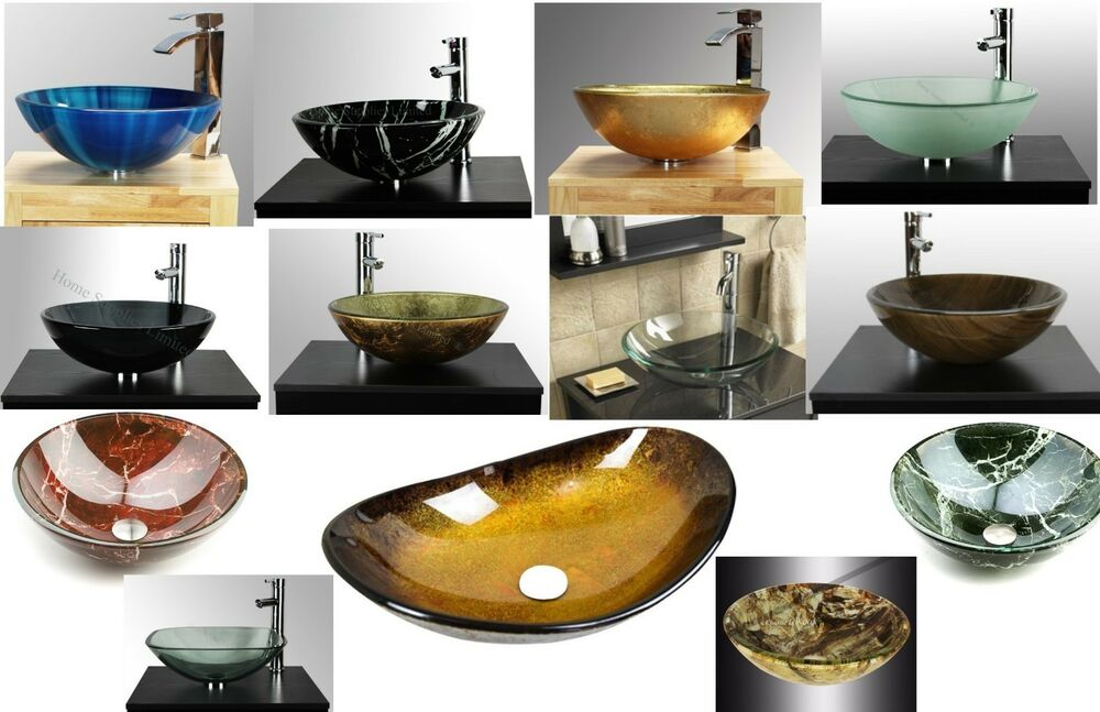 Bathroom clock room countertop tempered glass basin sink stunning quality ebay for Tempered glass bathroom countertop