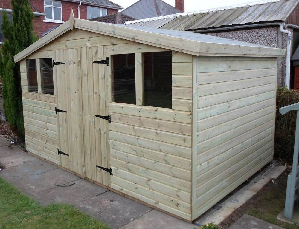 garden shed tanalised super heavy duty 12x10 reverse apex