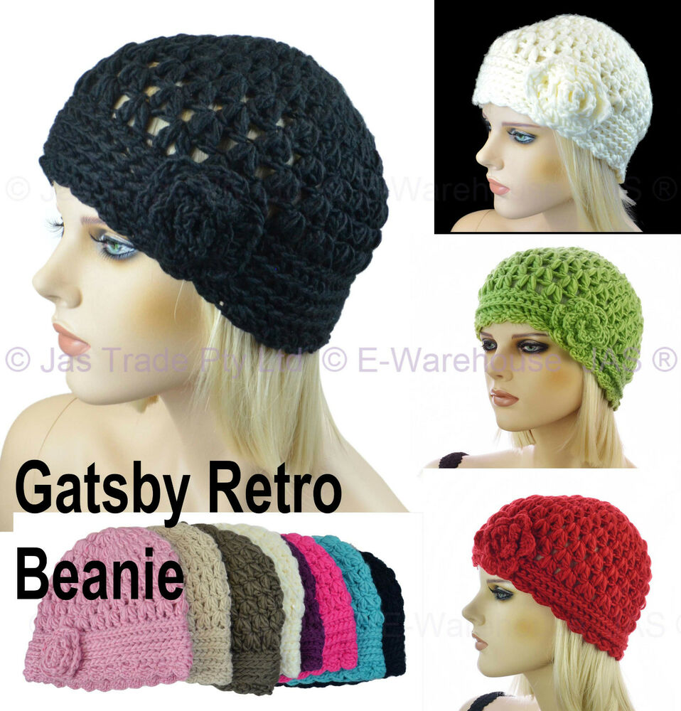 eee99b2ddff Details about Ladies Crochet Knit Retro Great Gatsby 20s Party Flower Lacy Beanie  Cloche Hat