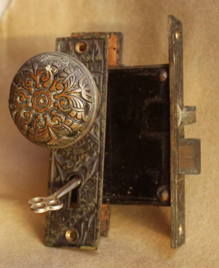 Antique eastlake victorian cast bronze interior door knob - Bedroom door knobs with key lock ...