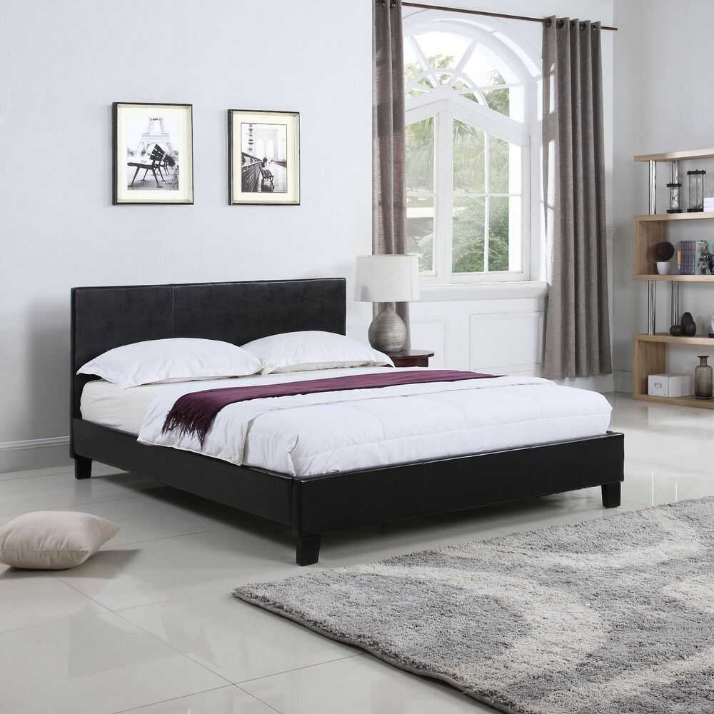 low profile bed frame bonded leather low profile platform bed frame w paneled 29604