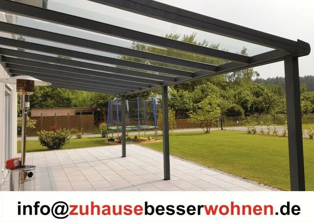 alu terrassendach carport aluminium terrassen berdachung veranda vsg glas 4x4m ebay. Black Bedroom Furniture Sets. Home Design Ideas