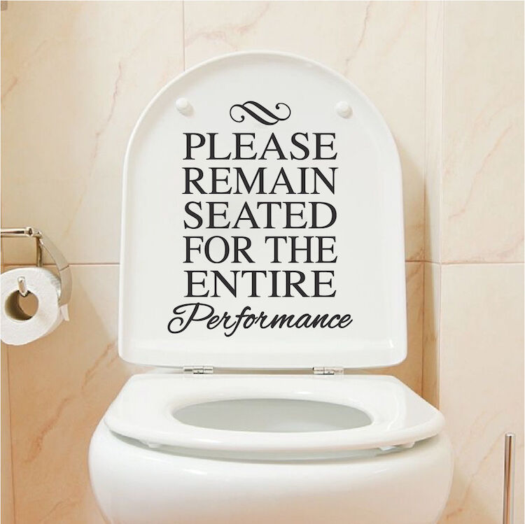 Funny Pictures For Bathroom: Funny Toilet Vinyl Decal Sticker, Sit Down During