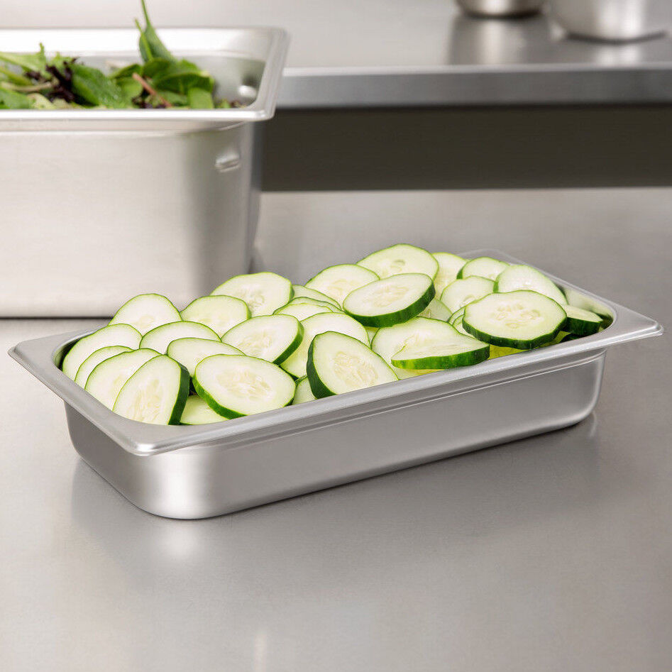 4 Pack 1 3 Size Stainless Steel Steam Prep Table Pan 12 3