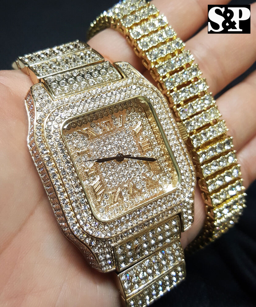 Men S Hip Hop Iced Out Bling Simulated Diamond Luxury